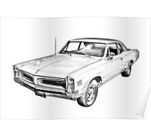 1966 Pontiac Lemans Car Illustration Poster