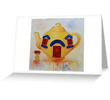 Big Yellow Teapot- vintage painting Greeting Card