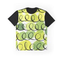 Ink and Green Watercolor Abstract Pattern Graphic T-Shirt