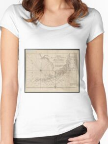 Vintage Map of The Florida Keys (1771) Women's Fitted Scoop T-Shirt