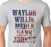 Waylon Jennings Willie Nelson Merle Haggard Hank Williams Johnny Cash best T shirt Unisex T-Shirt