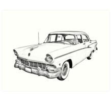 1956 Ford Custom Line Antique Car Illustration Art Print