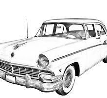 1956 Ford Custom Line Antique Car Illustration by KWJphotoart