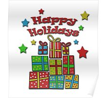 Happy holidays - Gifts and stars Poster