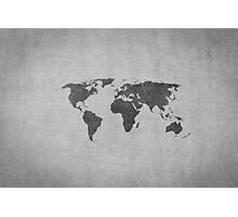 vintage world map on grey background Photographic Print