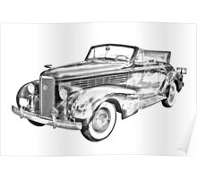 1938 Cadillac Lasalle Illustration Poster