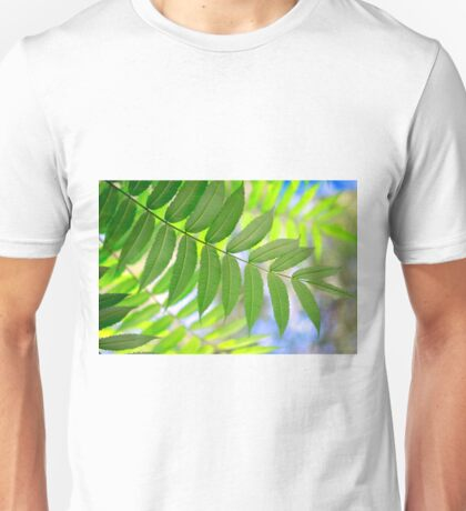 green leaves on fall background Unisex T-Shirt