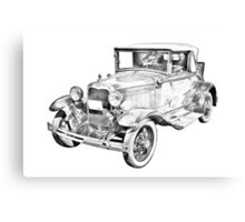 Model A Ford Roadster Antique Car Illustration Canvas Print