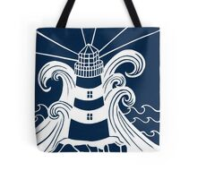 Paper art - Lighthouse in Stormy seas on navy blue background Tote Bag
