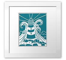 Lighthouse in Stormy Seas on teal background Framed Print