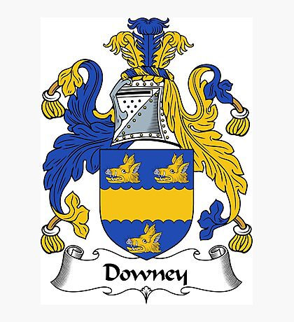 Downey Coat of Arms / Downey Family Crest Photographic Print