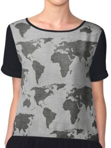 vintage world map camouflage pattern Chiffon Top