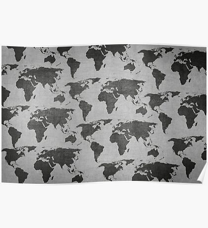 vintage world map camouflage pattern Poster