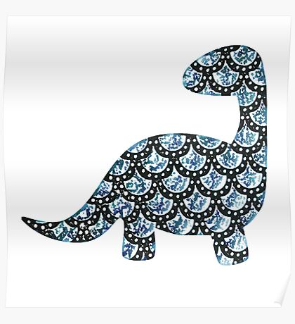 dino time - blue Poster