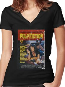 The Pulp Fiction Poster Women's Fitted V-Neck T-Shirt