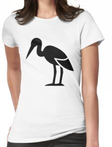 Stork Bird Silhouette Womens Fitted T-Shirt