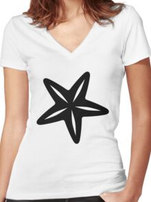 Starfish Silhouette Women's Fitted V-Neck T-Shirt