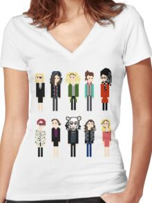 Pixel Clones - 10 Women's Fitted V-Neck T-Shirt