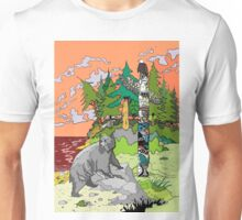 Bear at First Nation Totem Pole Unisex T-Shirt