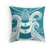 Paper art - Lighthouse in Stormy Seas on teal background Throw Pillow