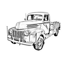 Old Flat Bed Ford Work Truck Illustration Photographic Print
