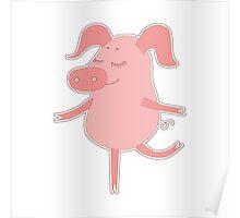 Cute piggy in cartoon style Poster