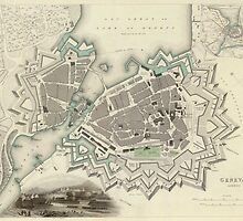 Vintage Map of Geneva (1841)  by BravuraMedia