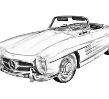 Mercedes Benz 300 SL Convertible Illustration by KWJphotoart