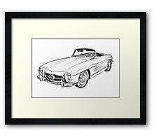 Mercedes Benz 300 SL Convertible Illustration Framed Print