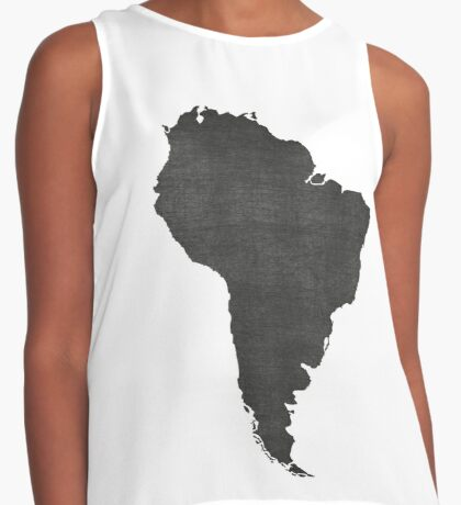 South America vintage  map on grey background Contrast Tank