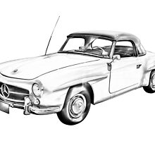 Mercedes Benz 300 sl Illustration by KWJphotoart