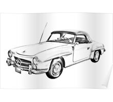 Mercedes Benz 300 sl Illustration Poster