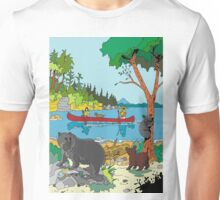 Kayaking by Bear and Cubs Unisex T-Shirt