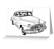1948 Chevrolet Fleetmaster Antique Car Illustration Greeting Card
