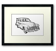 1948 Pontiac Silver Streak Woody Illustration Framed Print