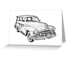 1948 Pontiac Silver Streak Woody Illustration Greeting Card