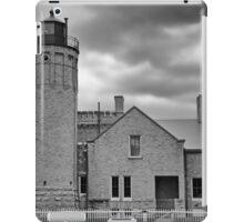 Old Mackinac Point LIght Gray Day BW iPad Case/Skin