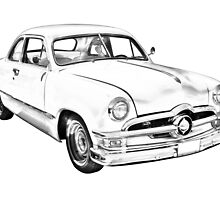 1950  Ford Custom Antique Car Illustration by KWJphotoart