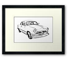 1950  Ford Custom Antique Car Illustration Framed Print