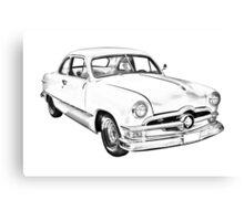 1950  Ford Custom Antique Car Illustration Canvas Print
