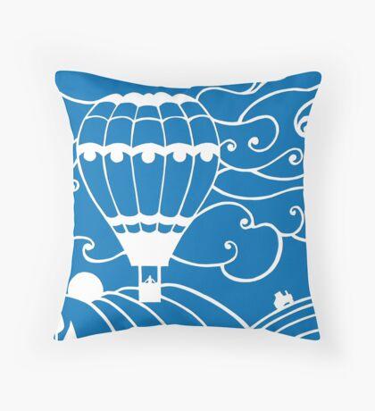 Paper art - Hot Air Balloon on a royal blue background Throw Pillow