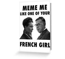 Simone de Beauvoir et Sartre Meme Greeting Card