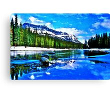 Bow river and Castle mountain Canvas Print