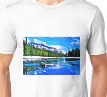 Bow river and Castle mountain Unisex T-Shirt