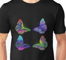 Colorful Bright Rainbow Colors Butterflies Drawing Unisex T-Shirt