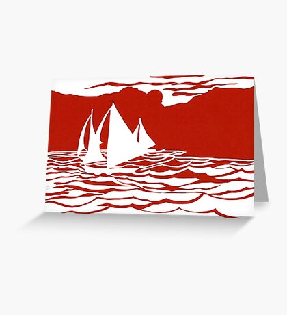 Paper art - Sailing Boats at Sunset on bright red background Greeting Card