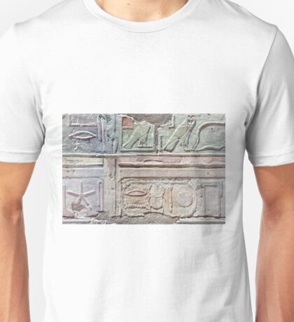 Heiroglyphs at the Temple of Queen Hatshepsut Unisex T-Shirt