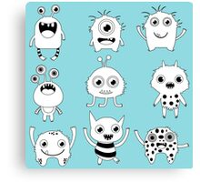 Black and white silly monsters Canvas Print