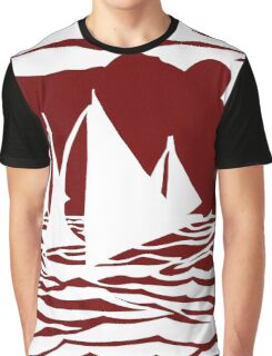 Paper art - Sailing Boats at Sunset on dark red background Graphic T-Shirt