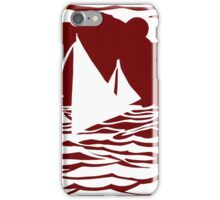 Paper art - Sailing Boats at Sunset on dark red background iPhone Case/Skin